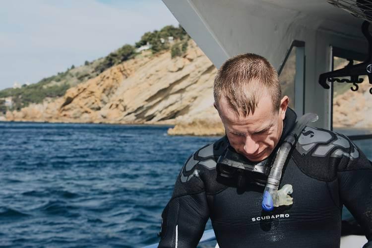 scuba diver wearing snorkel